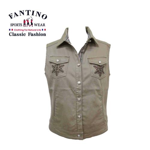 【FANTINO】女裝 個性女孩內刷毛保暖背心 (咖啡) 386104