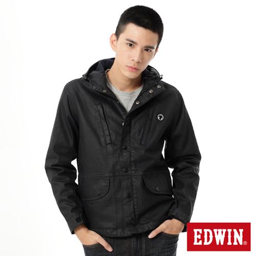 EDWIN 機能舖毛牛仔外套-男-原藍色
