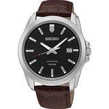 SEIKO CS系列大三針石英錶-黑x咖啡色錶帶/41mm 7N42-0GD0C(SGEH49P2)