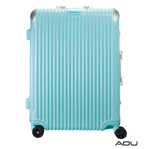 AOU 極速致美系列高端鋁框箱 20吋 獨創PC防刮專利設計飛機輪旅行箱 (湖水藍) 90-020C
