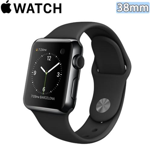 Apple WATCH 38mm/38公釐 S 太空黑不鏽鋼錶殼 黑色運動型錶帶【含螢幕保護貼+專用錶套+觸控筆】(MLCK2TA/A)