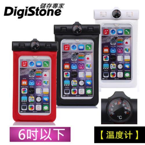 DigiStone 手機防水袋 保護套 手機套 可觸控 溫度計型  6吋 手機~果凍色~含