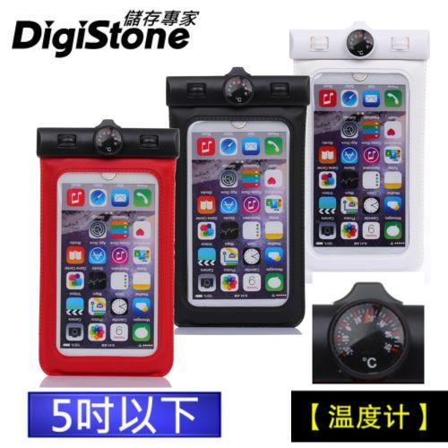 DigiStone 手機防水袋 保護套 手機套 可觸控 溫度計型  5吋 手機~果凍色~含