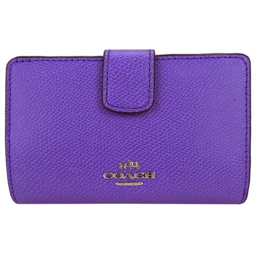 COACH 圓標素色防刮革多卡釦式中夾(紫)