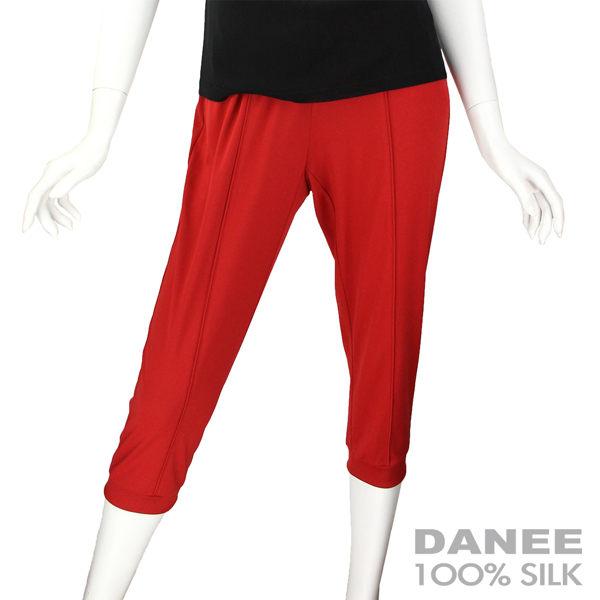 【岱妮蠶絲】彈性休閒蠶絲七分內搭褲(紅色)