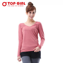 TOP GIRL-V領條紋咖啡炭熱感T恤-橘紅色