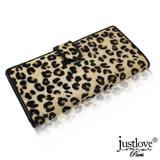 【justloveParis】 法國名品全頭層真皮皮夾3.9吋手機包可放24卡豹紋馬毛壓扣長夾(啡 BW-0011-1)