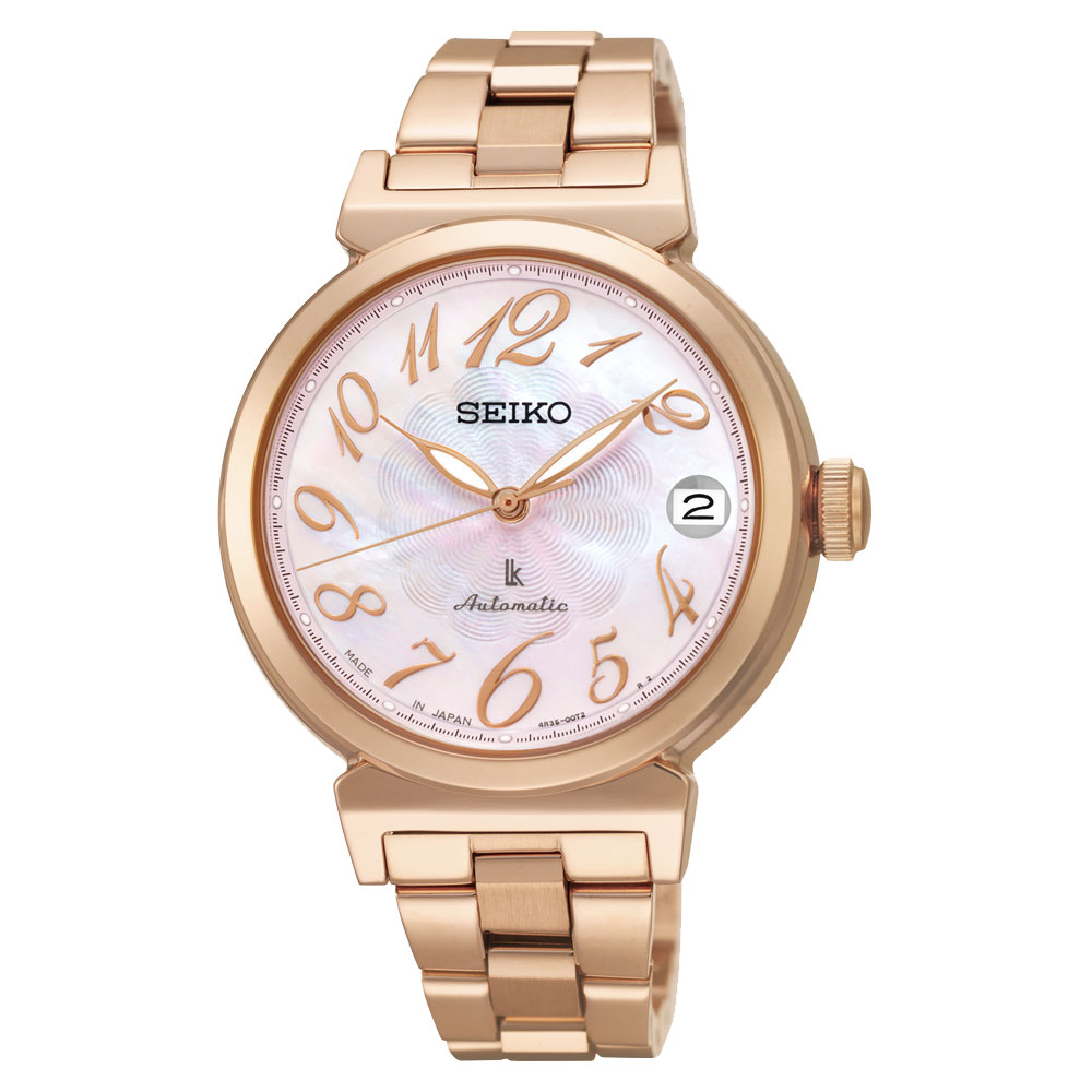 SEIKO LUKIA 經典機械錶-粉貝x玫瑰金/33mm 4R35-00J0P(SRP870J1)