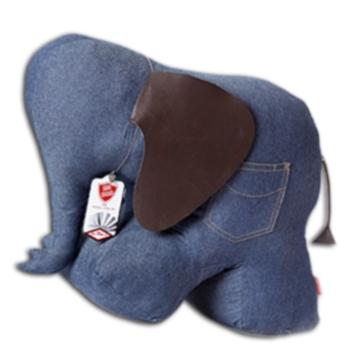 大象造型動物紙鎮(藍色丹寧)