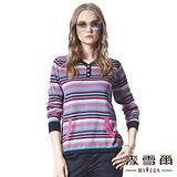 【麥雪爾】多色橫條紋排扣針織上衣