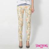 SOMETHING LADIVA花草合身牛仔褲-女-桔黃色