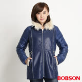 BOBSON 麂皮貼合絨絲棉外套- 藍34113-54