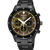 SEIKO Criteria 極速太陽能計時碼錶-咖啡x鍍黑/41mm V175-0DA0G(SSC343P1)
