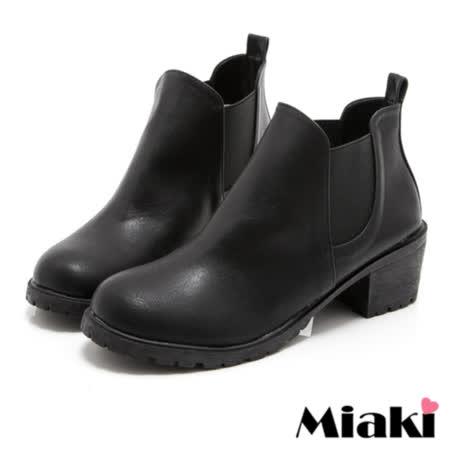 【Miaki】MIT 短靴潮流經典低跟圓頭踝靴 (黑色)