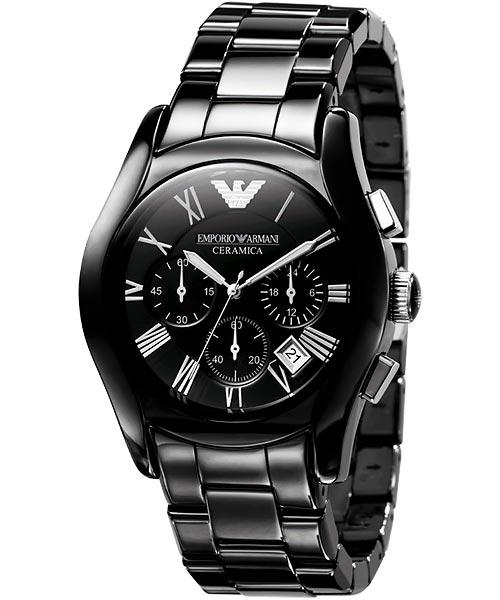 ARMANI 陶瓷三眼計時腕錶-黑 AR1400
