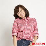 BOBSON 女款條紋長袖襯衫(紅條34137-13)
