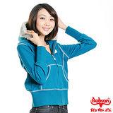 BOBSON 女款拷克縫線連帽針織外套(藍67097-59)