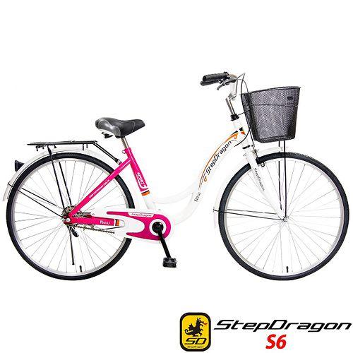 【StepDragon】S6 粉紅佳人 26吋時尚單速淑女車 (桃紅)