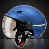 【瑞獅ZEUS ZS-127B LED安全行車】❖半罩安全帽 雪帽❖內襯全可拆❖日式飛行鏡片❖通風孔設計