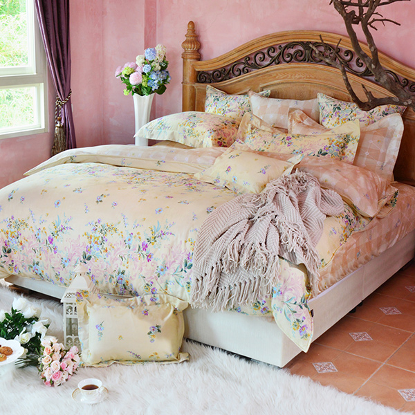 義大利La Belle加大四件式防蹣抗菌舖棉兩用被床包組