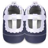 英國 shooshoos 安全無毒真皮手工鞋/學步鞋/嬰兒鞋 海軍藍/銀白T飾條(公司貨)