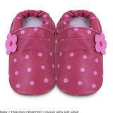 英國 shooshoos 安全無毒真皮手工鞋/學步鞋/嬰兒鞋 桃粉點點(套)(公司貨)
