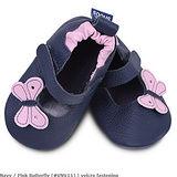 英國 shooshoos 安全無毒真皮手工鞋/學步鞋/嬰兒鞋 海軍藍小蝴蝶(公司貨)