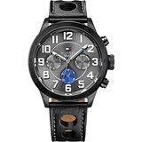 TOMMY HILFIGER 生存遊戲時尚日曆腕錶-灰x黑/46mm M1791051