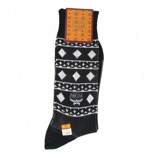 MCM 菱格圖騰刺繡LOGO紳士襪-黑色
