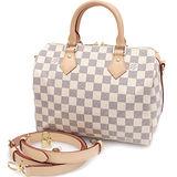 Louis Vuitton LV N41374 Speedy 25 白棋盤格紋附斜背帶手提包(附銷組) 預購