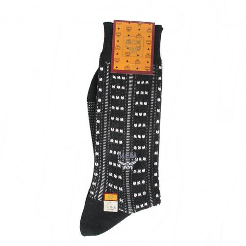 MCM 直條紋刺繡LOGO紳士襪-黑色