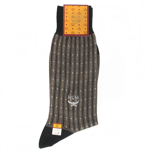 MCM 圓點直紋刺繡LOGO紳士襪-黑/米白