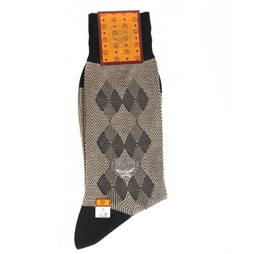 MCM 斜紋雙菱格紋紳士襪-褐色