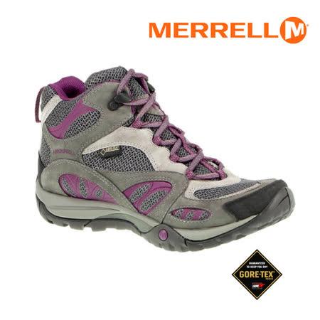 MERRELL女運動鞋AZURA MID GORE-TEX ML24314真皮登山健行鞋F8370#灰紫 零碼出清