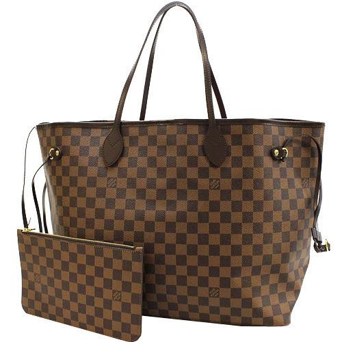 Louis Vuitton LV N41357 NEVERFULL GM 棋盤格紋子母束口購物包.大_預購