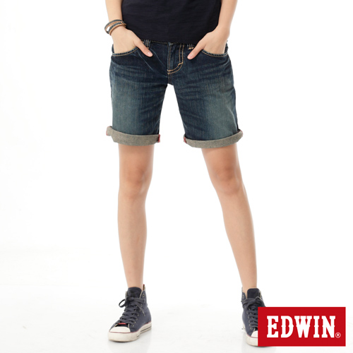 EDWIN BLUE TRIP牛仔短褲-女-漂淺藍