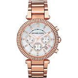 Michael Kors 美式奢華晶鑽三眼計時腕錶-玫瑰金x珍珠貝 MK5491