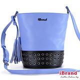 iBrand真皮-簡約時尚真皮撞色鉚釘流蘇水桶包-薰衣草紫