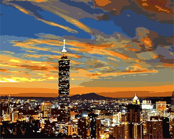 ArtLife藝術生活【TW001】台灣風情誌-台北101_DIY 數字 油畫 彩繪 40*50cm