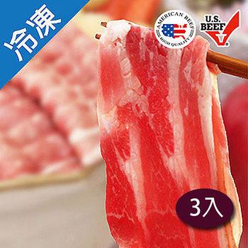 美國冷凍牛五花肉片500g/3盒