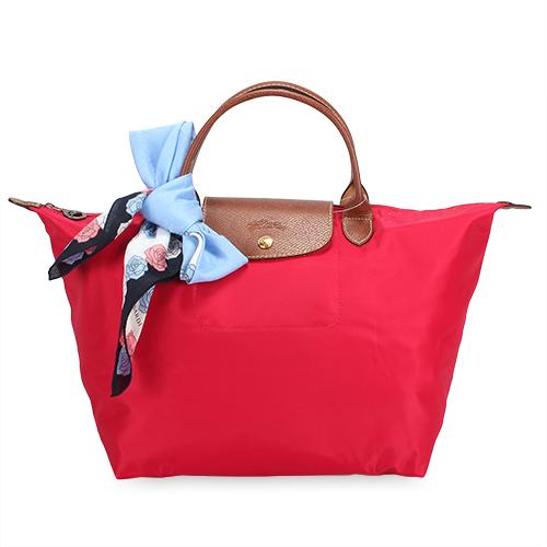 Longchamp 短提把中型水餃包-艷紅色
