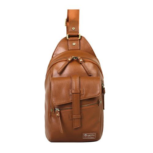 【estilo】印地安II系列 豪放氣勢 直式側背包 棕