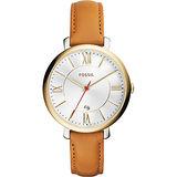 FOSSIL 羅馬風尚仕女腕錶-金x卡其/36mm ES3737