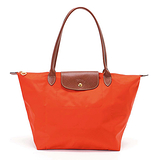 Longchamp 經典高彩度可摺疊水餃包 長把/中/橘色