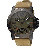 Timberland 探險玩家潮流時尚腕錶-綠x卡其/48mm TBL.14479JSBU/19