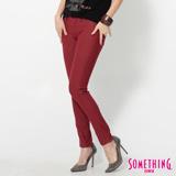 SOMETHING LADIVA合身牛仔褲-女-朱紅色