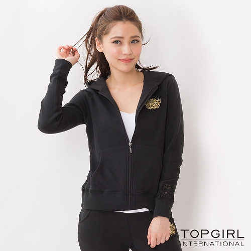 TOP GIRL 蕾絲拼接針織連帽外套-黑