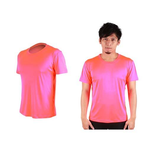 (男女) HODARLA FLARE 300 超柔肌膚排汗衫-短袖T恤 涼感 柔膚 台灣製  螢光粉