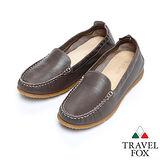 (女)Travel Fox 柔軟皮革鬆緊帶舒適鞋915315(深灰-98)