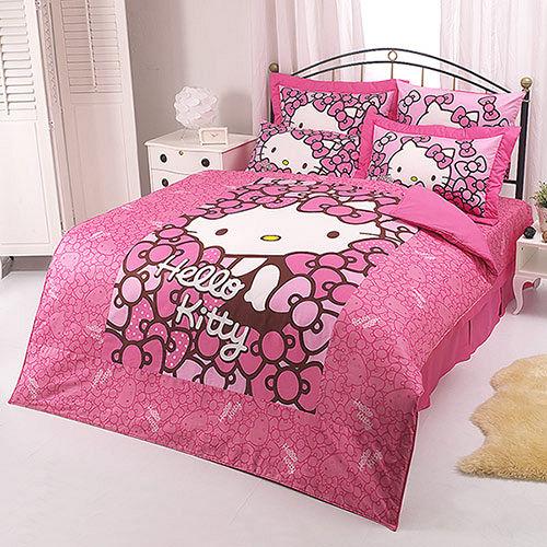【享夢城堡】HELLO KITTY 我的Ribbon時尚系列-雙人純棉四件式床包兩用被組(粉)